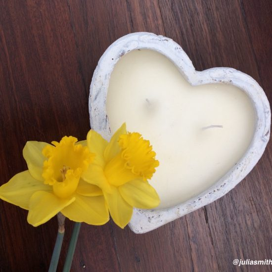 Heart and daffodils w text 22July17